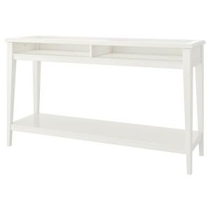 ЛИАТОРП Консольный стол, белый, стекло