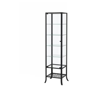КЛИНГСБУ Шкаф-витрина, черный, прозрачное стекло