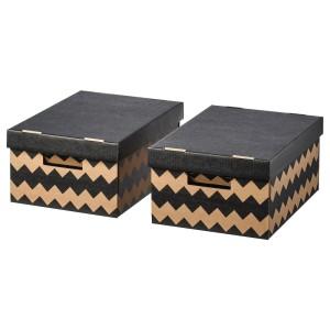 ПИНГЛА Коробка с крышкой, черный, естественный, 2шт