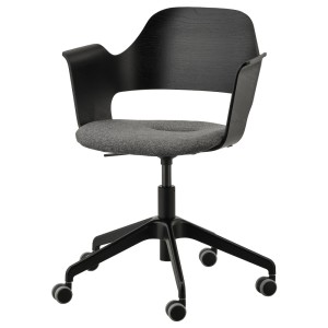 ФЬЕЛЛБЕРГЕТ Конференц-стул, на колесиках, ясеневый шпон/черная морилка, Гуннаред темно-серый