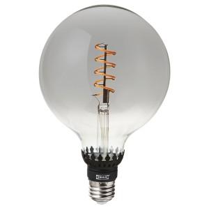 РОЛЛЬСБУ Светодиод E27 140 лм, регулируемая яркость, шаровидный серое прозрачное стекло