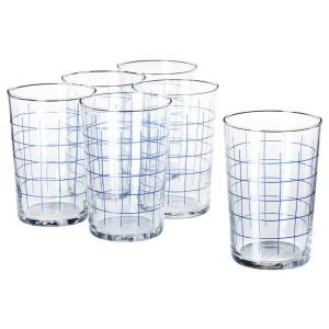 СПОРАДИСК Стакан, прозрачное стекло, клетчатый орнамент, 6шт