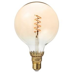 РОЛЛЬСБУ Светодиод E27 140 лм, регулируемая яркость, шаровидный коричневый, прозрачное стекло