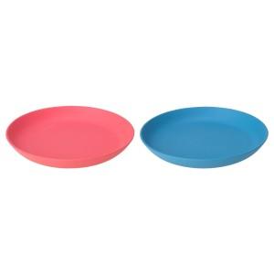 ХЭРОИСК Десертная тарелка, синий, светло-красный, 2шт