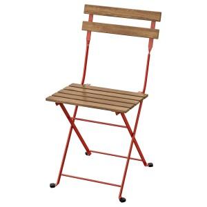 ТЭРНО Садовый стул, складной, красный светло-коричневая морилка