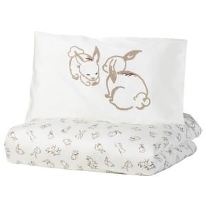 РЁДХАКЕ Пододеяльник, наволочка д/кроватки, орнамент «кролики», белый/бежевый