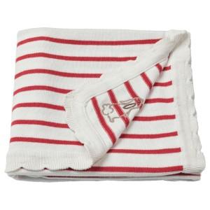 РЁДХАКЕ Одеяло детское, в полоску, белый/красный
