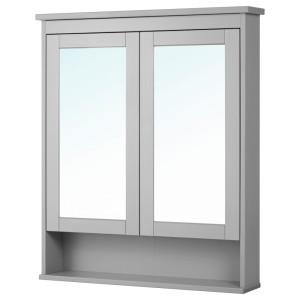 ХЕМНЭС Зеркальный шкаф с 2 дверцами, серый