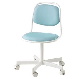 ОРФЬЕЛЛЬ Детский стул д/письменного стола, белый, Висле синий/зеленый