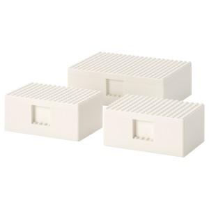 БЮГГЛЕК LEGO® контейнер с крышкой, 3 шт., белый