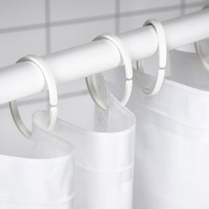 ХАССШЁН Кольца для шторы в ванную, белый, 12шт