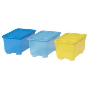 ГЛИС Контейнер с крышкой, желтый, синий, 3шт