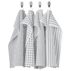 РИННИГ Полотенце кухонное, белый/темно-серый, с рисунком, 4шт