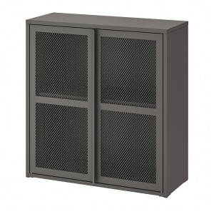 ИВАР Шкаф с дверями, серый сетка