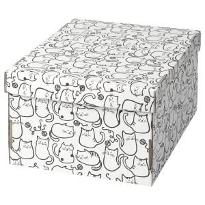 СМЕКА Коробка с крышкой, белый, кот