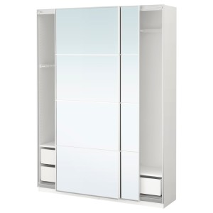 ПАКС Гардероб, белый, Аули зеркальное стекло