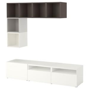 БЕСТО / ЭКЕТ Комбинация для ТВ, белый/светло-серый, темно-серый