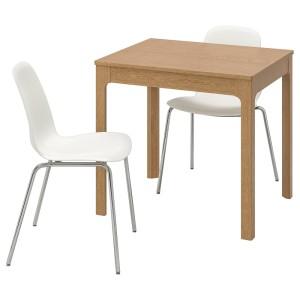 ЭКЕДАЛЕН / ЛЕЙФ-АРНЕ Стол и 2 стула, дуб, белый