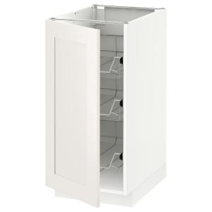МЕТОД Напольный шкаф с проволочн ящиками, белый, Сэведаль белый