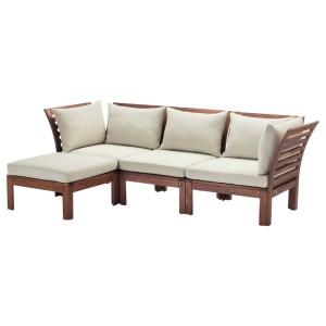 ЭПЛАРО 3-местный модульный диван, садовый, с табуретом для ног коричневая морилка коричневая морилка, Холло бежевый