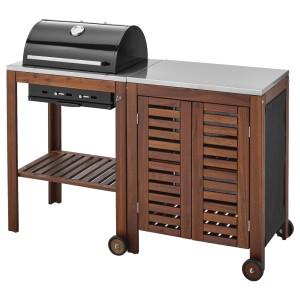 ЭПЛАРО / КЛАСЕН Угольный гриль+модуль д/хранения, коричневая морилка, цвет нержавеющей стали