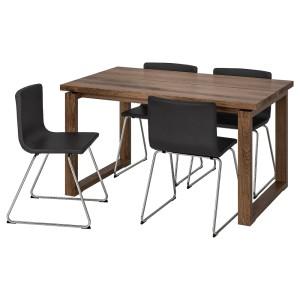 МОРБИЛОНГА / БЕРНГАРД Стол и 4 стула, коричневый, Мьюк темно-коричневый