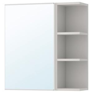 ЛИЛЛОНГЕН Шкафчик зеркальн с 1 дв/1 торц скц, белый, серый