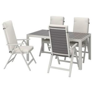 ШЭЛЛАНД Стол+4 кресла, д/сада, темно-серый, ФРЁСЁН/ДУВХОЛЬМЕН бежевый