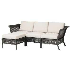 КУНГСХОЛЬМЕН 3-местный модульный диван, садовый, черно-коричневый, ФРЁСЁН/ДУВХОЛЬМЕН бежевый