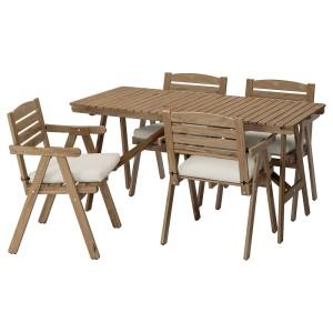 ФАЛЬХОЛЬМЕН Стол+4 кресла, д/сада, светло-коричневая морилка серо-коричневый, ФРЁСЁН/ДУВХОЛЬМЕН бежевый