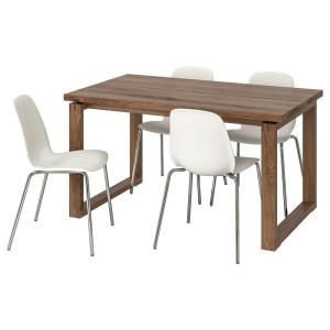 МОРБИЛОНГА / ЛЕЙФ-АРНЕ Стол и 4 стула, коричневый, белый