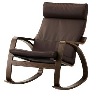 ПОЭНГ Кресло-качалка, коричневый, Глосе темно-коричневый