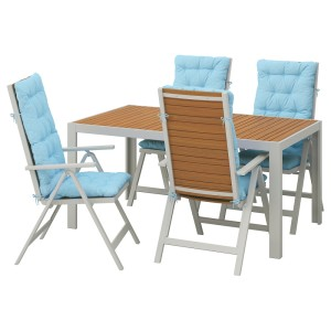 ШЭЛЛАНД Стол+4 кресла, д/сада, светло-коричневый, Куддарна голубой