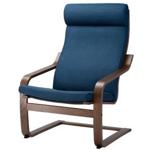ПОЭНГ Кресло, коричневый, Шифтебу темно-синий