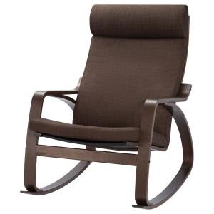 ПОЭНГ Кресло-качалка, коричневый, Шифтебу коричневый