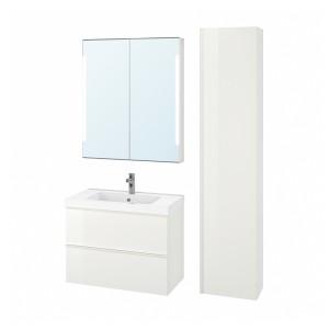 ГОДМОРГОН / ОДЕНСВИК Комплект мебели для ванной,5 предм., глянцевый белый, БРОГРУНД смеситель