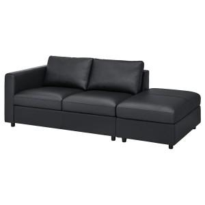 ВИМЛЕ 3-местный диван, с открытым торцом, Гранн/Бумстад черный