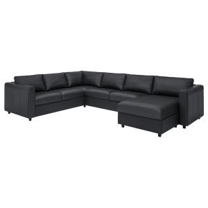 ВИМЛЕ 5-местный угловой диван, с козеткой, Гранн/Бумстад черный