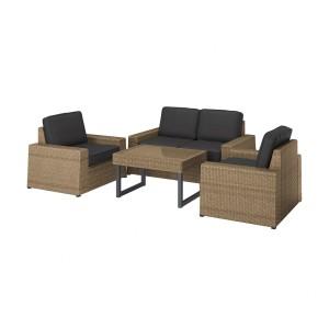 СОЛЛЕРОН 4-местный комплект садовой мебели, коричневый, ЙЭРПОН/дувхольмен антрацит