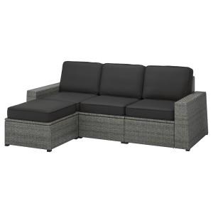 СОЛЛЕРОН 3-местный модульный диван, садовый, с табуретом для ног темно-серый, ЙЭРПОН/дувхольмен антрацит