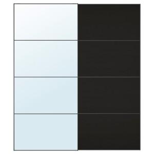 АУЛИ / МЕХАМН Пара раздвижных дверей, зеркальное стекло, под мореный ясень, черно-коричневый