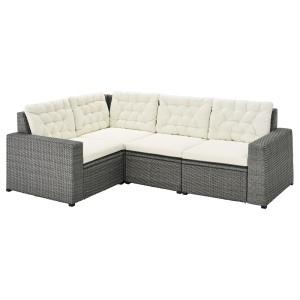 СОЛЛЕРОН Модульный угл 3-мест диван, садовый, темно-серый, Куддарна бежевый