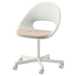 ЛОБЕРГЕТ / БЛИСКЭР Рабочее кресло c подушкой, белый, бежевый