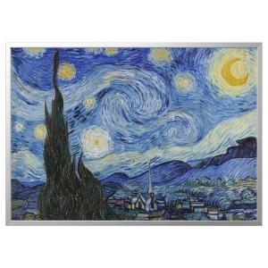 БЬЁРКСТА Картина с рамой, Звездная ночь, цвет алюминия
