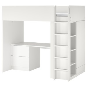 СМОСТАД Кровать-чердак, белый белый, с письменным столом с 3 ящиками