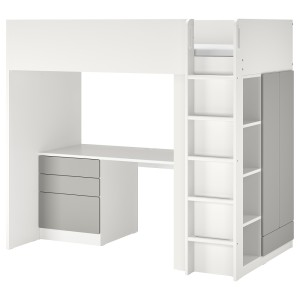 СМОСТАД Кровать-чердак, белый серый, с письменным столом с 4 ящиками
