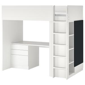 СМОСТАД Кровать-чердак, белый поверхность доски для записей, с письменным столом с 4 ящиками