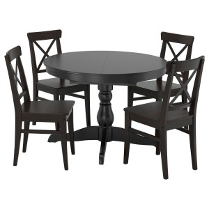 ИНГАТОРП / ИНГОЛЬФ Стол и 4 стула, черный, коричнево-чёрный