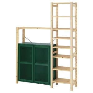 ИВАР Стеллаж со шкафами/ящиками, сосна, зеленый сетка