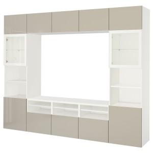 БЕСТО Шкаф для ТВ, комбин/стеклян дверцы, белый, Сельсвикен глянцевый/бежевый прозрачное стекло